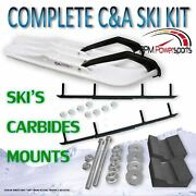 Canda Pro White Bx Snowmobile Skis W/ 9 Shaper Bars Complete Kit