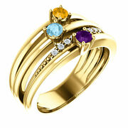 Family Motherand039s Ring 1-5 Stones 10k Or 14k Solid Gold Moms Jewelry Ring