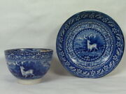 Rrr Marked Antique 19th.c Salopian Soft Paste China Deer Scene Blue Cup And Saucer