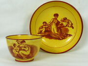 Antique 1820and039s Canary Transferware Yellow Cup And Saucer Mother And Child Scenes