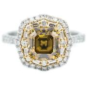 7.5mm Vintage Cognac Asscher Moissanite Two Toned 14k White And Yellow Gold Antiqu