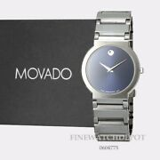 Authentic Movado Menand039s Valor Tungsten Carbide Blue Case And Band Watch 0604775