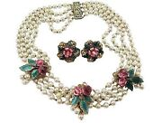 Miriam Haskell Book Piece 1940's Necklace Earrings Pearls Enamel Crystals