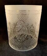 Antique Oil Gas Hanging Cylinder Lamp Etched Glass Shade Floral / Birds 8 1/4