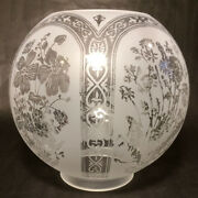 8 Five Scene Floral Etched Victorian Ball Gas Lamp Shade - 4 Fitter Gs595