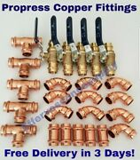Lot Of 25 1-1/4 Propress Copper Fittings.tees Elbows - Coupling