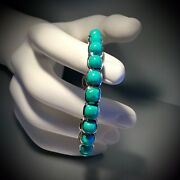 Sold Out Stephen Dweck 925 Cushion Faceted Turquoise Engraved Bangle - 6 3/4andrdquo D