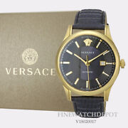 Authentic Menand039s Versace And039aiakos Automaticand039 Blue Dial Gold Tone Watch V18020017