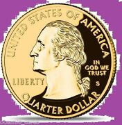 Usa 50 State Quarters Collection Gold Plated With Case Watch C.o.a And Info Cards