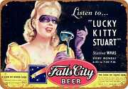 Metal Sign - Falls City Beer And Lucky Kitty Stuart Whas - Vintage Look