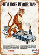Metal Sign - 1965 Esso Put A Tiger In Your Police Car - Vintage Look Re