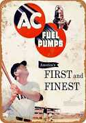 Metal Sign - 1951 Ac Fuel Pumps With Babe Ruth - Vintage Look Reproduction