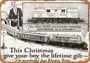 Metal Sign - 1924 Ives Electric Toy Trains For Christmas - Vintage Look