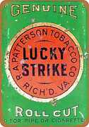 Metal Sign - Lucky Strike Pipe And Cigarette Roll Cut Tobacco - Vintage