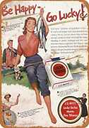 Metal Sign - 1951 Lucky Strike Cigarettes And Fishing - Vintage Look Re