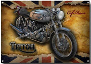 Triton Cafe Racer Motorcycle Metal Signgloss Finishclassic Motorcycles A3