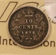 1875-h Canada Silver 10 Cents. Iccs Vf-30. Rare Key Date. Attractively Toned.