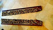 Pair Antique 19c Chinese Wood Carved Piersed Gilt Temple Panel Floral Motif