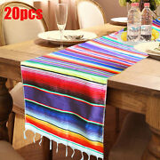 20pcs Mexican Serape Table Runners Fringe Cotton Tablecloth Party Wedding Decor
