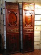 Chinese Shutter Hand Carved Painted Panels Opens Antique