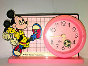 Walt Disney Productions Mickey Mouse Alarm Clock Pink Soccer Licensed Taiwan Vtg