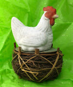 Vintage Germany Candy Container Chicken On Nest Papier Mache Cardboard Easter