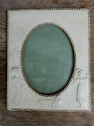 Vintage Photo Picture Frame Cream Worked Embossed Leather. Missing Stand