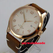 42mm White Sterile Dial Rose Golden Sapphire Glass Miyota Automatic Mens Watch