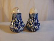 Antique Wedgwood Flow Blue Salt And Pepper Shakers