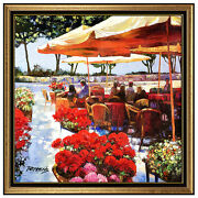 Howard Behrens Giclee On Canvas Original Signed Cafe Amalfi Hand Painting Art