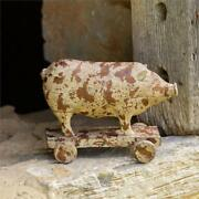 New Primitive Country Farmhouse Distressed Resin Pig On Wheels Figurine