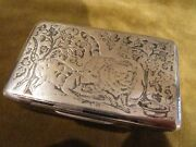 Rare And Gorgeous 1819 1838 French Sterling Niello Silver Snuff Box 2 Cats 90g
