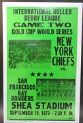 1973 Roller Derby World Series Chiefs Bombers Cardboard Wall Sign Poster