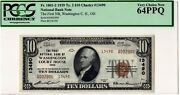 1929 10 First National Washington Court House Oh Ch.13490 - Pcgs 64 Ppq - Best
