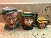 Set Of 3 Detailed Toby Mugs Made In Japan And Portugal