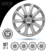 Set 4 Hubcaps 14 Wheel Cover Montreal Silver Abs Easy To Install Universal Fit