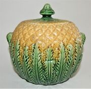Antique Majolica Pineapple Pattern Covered Sugar Bowl 1800andrsquos Yellow Green