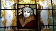 Reverse Painted Art Panel Mixed With Stained Glass