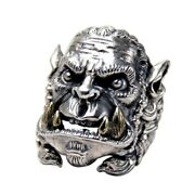 Men Warcraft Big Rings 925 Sterling Silver Soldier Opening Vintage Punk Jewelry