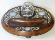 Antique Victorian Burl Wood Ink Stand W/ Silver And Jasper Medallions