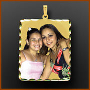 14k Gold Square Personalized Photo Picture Pendant Necklace Charm Gift For Her