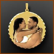 14k Gold Round Necklace Personalized Photo Charm Picture Pendant Gift For Her