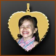 14k Gold Love Heart Custom Photo Picture Pendant Necklace Charm Gift For Her