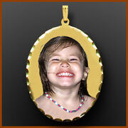 14k Gold Oval Personalized Gift For Her Photo Necklace Picture Pendant Charm
