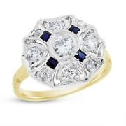 0.95 Ct. Vintage Diamond Diamond And Sapphire Cocktail Ring In Solid 14k Yellow Go