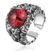 Men's Cool Ghosts Eyes Rings 925 Sterling Silver Rose Red Yellow Vintage Jewelry
