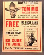1935 Card Stock Poster Join The Tom Mix Miracle Riders Cowboy Western Hero Tm