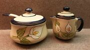 Unused Covered Pottery Sugar Bowl And Spoon And Covered Creamer Lily Design