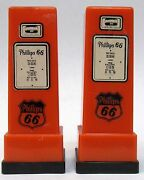 1950's Phillips 66 Melcher Ia Pair Matched Gas Pump Salt And Pepper Shakers Set