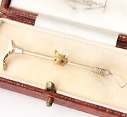 Vintage Fox Head On Riding Crop 9ct Gold And Ruby Brooch / Hunting Tie Pin. Boxed